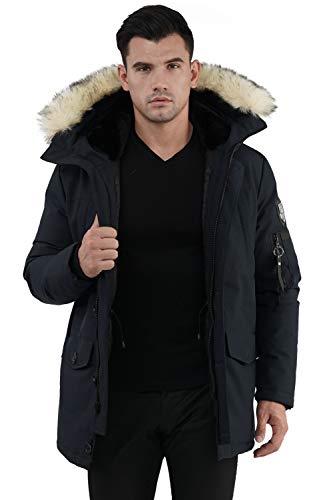 Molemsx Mens Down Jacket with Hood, Men's Warm Parka Puffer Jacket for Cold Weather Outdoor Men's Waterproof Ski Jacket Warm Winter Snow Coat Mountain Hooded Snowboarding Jackets Navy,Large