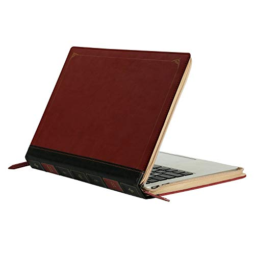 MOSISO Compatible with MacBook Pro 15 inch Case 2019 2018 2017 2016 Release A1990 A1707 with Touch Bar, PU Leather Laptop Sleeve Vintage Retro Zippered Book Folio Cover, Wine Red