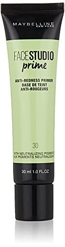Maybelline New York - Face Studio Primer, Primer Prebase de Maquillaje, Antirojeces, Tono 30 - 30 ml
