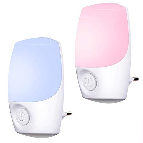 Nachtlicht Steckdose Farbe ausgewählt,Emotionlite Farbrotations LED Nachtlicht,Dämmerungssensor,Wählen Sie Mehrfarbig Warmweiß durch Schalter.Nursery Decor, Kinderzimmer, Schlafzimmer,2 Stück