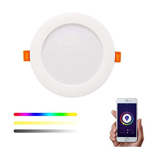 Downlight WiFi Inteligente LED RGBW 14W Empotrable Techo compatible con Alexa y Google Home, Multicolor Regulable 1100lm compatible con Tuya y Smart Life– Smartfy