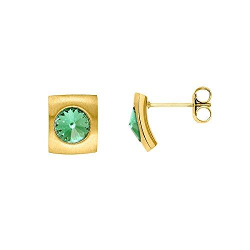 Heideman Ohrringe Damen Quadro aus Edelstahl gold farbend matt Ohrstecker für Frauen mit Swarovski Stein Kristall peridot grün im Fantasie Edelsteinschliff 6mm