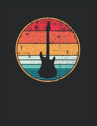 Guitarra eléctrica retro Guitarrista: Cuaderno de líneas forrado, Carta (21,59 x 27,94 cm), 120 páginas, papel crema, cubierta mate