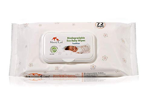 Mommy Care Organic Biodegradable Eco Friendly Baby Wipes - Sensitive Skin Natural Child Care - 1 Pack / 72 Count