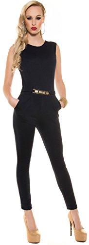 Eleganter KouCla Overall mit Goldschnalle in versch. Farben & Größen - Jumpsuit Rückenfrei (K6721) marine Gr. M