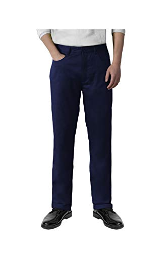 Alona Mens Casual Pants Slim Fit Flat Front Wrinkle Resistant Chino Pant 34W x 30L Navy