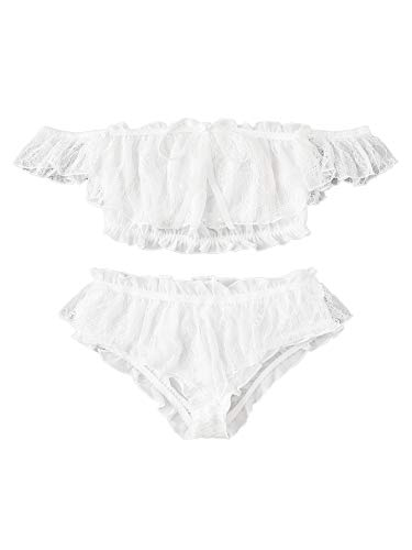 SheIn Women's Floral Embroidered Frill Trim Lingerie Bra and Panty Set Lace Two Piece Small White