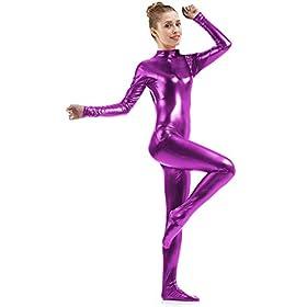 Ensnovo Womens Shiny Metallic Zentai Suit Wetlook Spandex Turtleneck Unitard