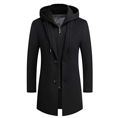 COOFANDY Mens Winter Slim Fit Mid Long Coat Jacket Horn Buckle Trench Overcoat