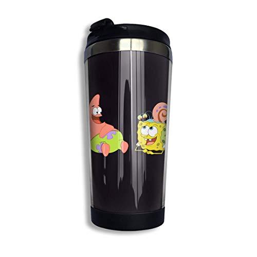 vfrtg Patrick Star und SpongeBob Kaffee Reisebecher Auto Becher Tasse Eistee oder Wasserflasche Isolierte Thermotasse Edelstahl zum Wandern, Camping, Arbeiten & Reisen