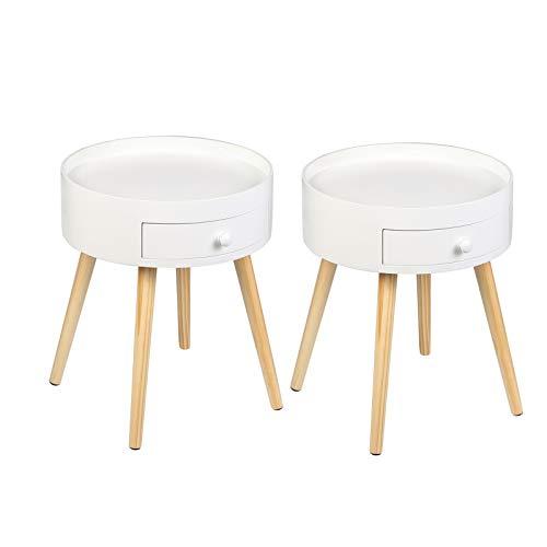 WOLTU Nachttisch 2er Set Beistelltisch Nachtkommode Nachtschrank Sofatisch, mit Schublade, mit Beinen, Holz, MDF, Weiß