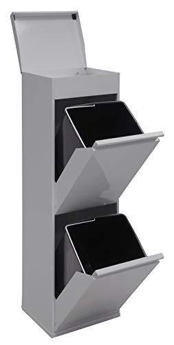 Arregui Top CR222-B Cubo de Basura y Reciclaje de Acero de 2 Cubos con Tapa y Bandeja Superior Multiusos, Gris Claro, 97.5x30.6x24.5