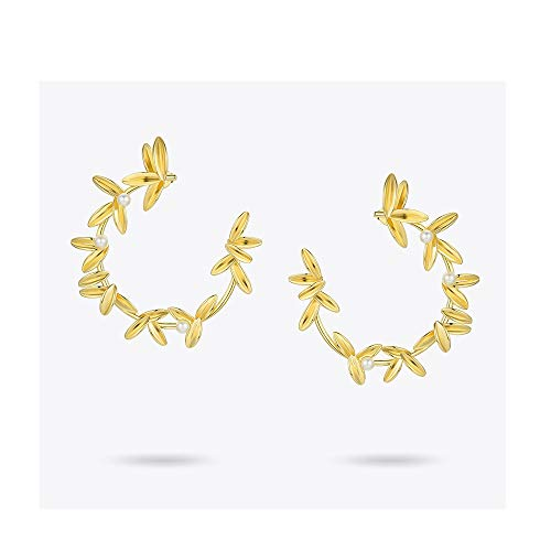 nobrand Frauenohrringe Olive Branch Leaf Creolen Für Frauen Gold Color Statement Metallblume Big Hoops Earings Modeschmuck