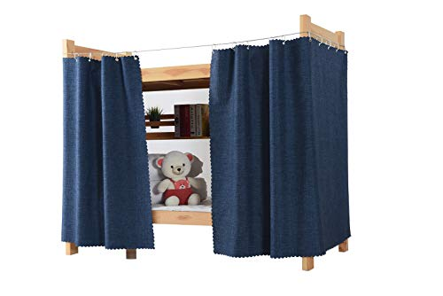 Teanea Solid Bottom Bunk Bed Blackout Curtains Privacy Cloth Single Size Twin Size for Men Women Teen Collage Students, 1 Panel, Navy
