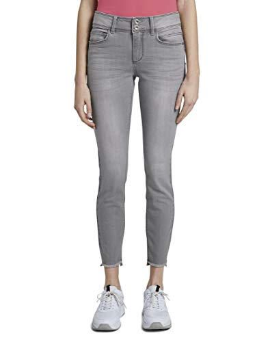 TOM TAILOR Damen Jeanshosen Alexa Skinny Jeans mit Fransen clean Light Stone Grey Denim,29/32