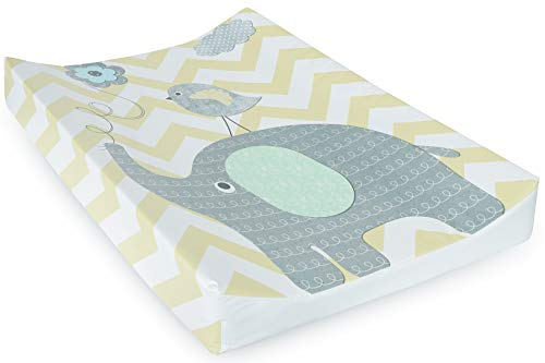 Babycurls Deluxe Anti-Roll PVC Wedge Nappy Baby Changing Mat with Curved Sides and Raised Edges for Babies from Birth Upwards Wipe Clean and Waterproof 69 x 45 x 8cm (Elephant Chevron)