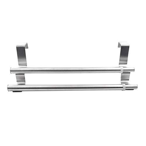 Toallero doble percha sobre armario puertas de armario de acero inoxidable toalla de baño barra en baño o cocina