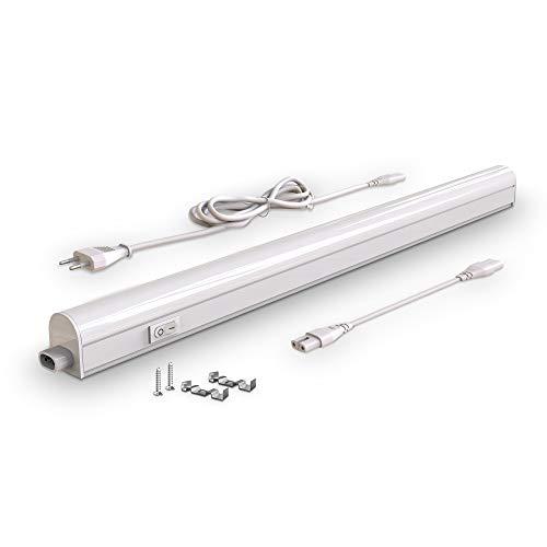 B.K.Licht Lampada sottopensile cucina LED, luce bianca naturale 4000K, LED integrati da 8W, lunghezza 57.3cm, interruttore on off, plastica, lampada moderna collegabile con lampade uguali, 230V IP20