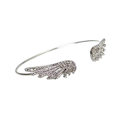 Women Angle Wing Bracelet Rhinestone Cubic Zircon Double Feather Leaf Open Bracelet Bangle Cuff for Girls Girlfriend Jewelry