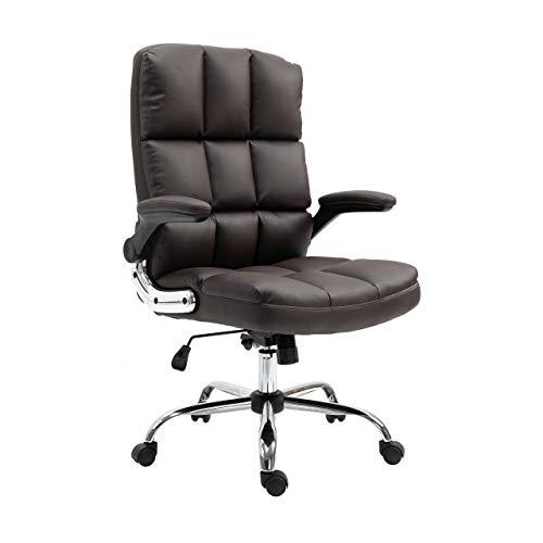 Mendler Bürostuhl HWC-J21, Chefsessel Drehstuhl Schreibtischstuhl, höhenverstellbar - Kunstleder braun