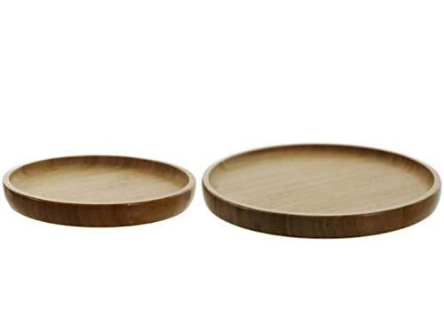 meindekoartikel 2 Teller Platten Holzteller Küchenteller Servierteller aus Bambus rund Ø 20 cm / 26 cm