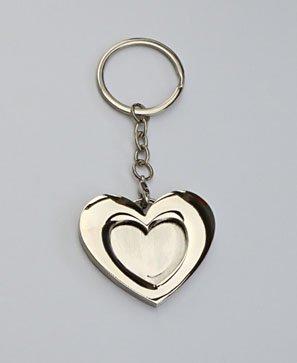 cw-foto 1 sleutelhanger fotolijst metaal hart zilverkleurig voor foto's/pasfoto's