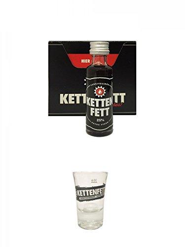 Kettenfett Lakritz Likör 16 x 0,02 Liter Miniaturen + Kettenfett Shot Glas 1 Stück