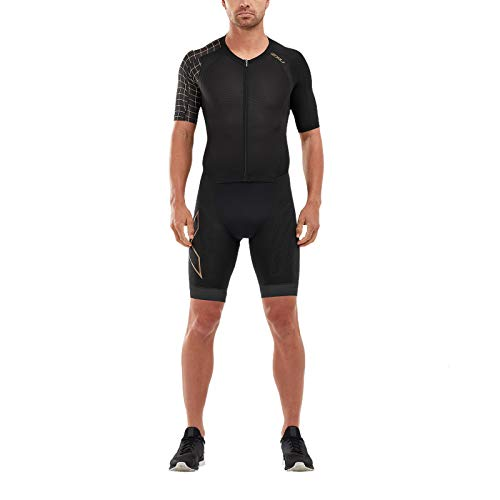 2XU Men's Compression Full Zip Sleeved Trisuit, Black/Gold, M