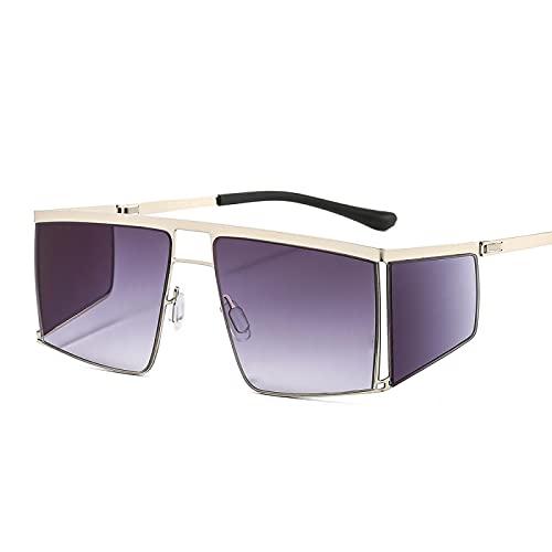 HAOMAO Steampunk Square Oversized Mirror Gradient Gafas de sol para mujeres y hombres Uv400 Goggle Shades Eyewear Orange