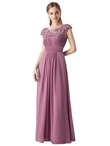 Ever-Pretty Dames Elegant Kant Kap Mouwen Avondjurken A-lijn Chiffon Lang Bruidsmeisjes Jurken Empire Taille Feestjurken 09993