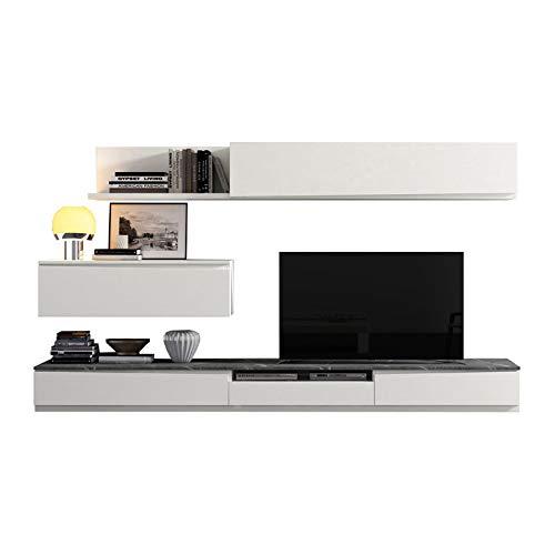 Tousmesmeubles Composition TV Bois Blanc/Marbre Gris - Camelia n°1 - L 300 x l 45 x H 170 - Neuf