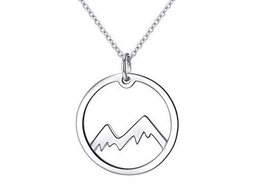 Geschenk für Frauen Kette für Damen Berge aus 925er Silber Mountain Halskette Gebirge Anhänger Rund Schmuck inbegriffen Geschenkbox