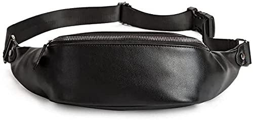 LTCTL Hombre Mujer Cuero Conciso Riñonera Viaje Dinero Bolsa Cintura Riñonera Bolsa Pasaporte Titular Cinturón Ajustable Negro