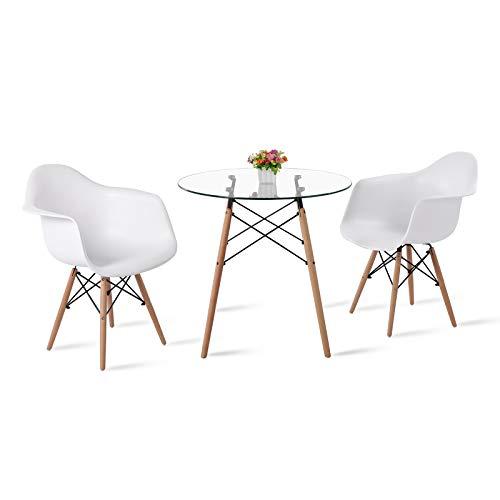 DORAFAIR Set aus Glas Runder Esstisch und 2 Modern Esszimmerstühle, für Küche Esszimmer Konferenzzimmer