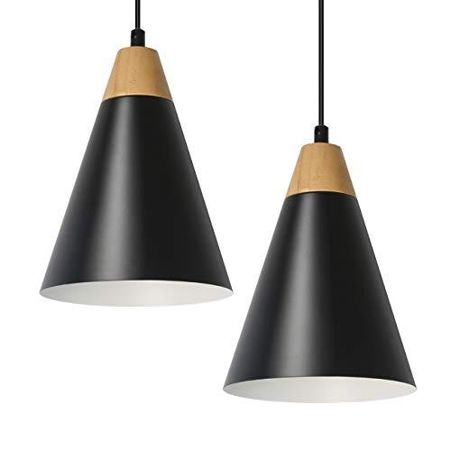 Tomons Lámpara de Techo LED Lámpara Colgante Kit de 2 Escandinavo Moderno Estilo para la Sala Comedor Restaurante, Negro