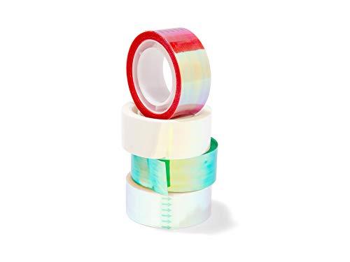 Modulor Lot de 4 rouleaux de ruban adhésif effet miroir - 10 m de long x 19 mm de large - Multicolore