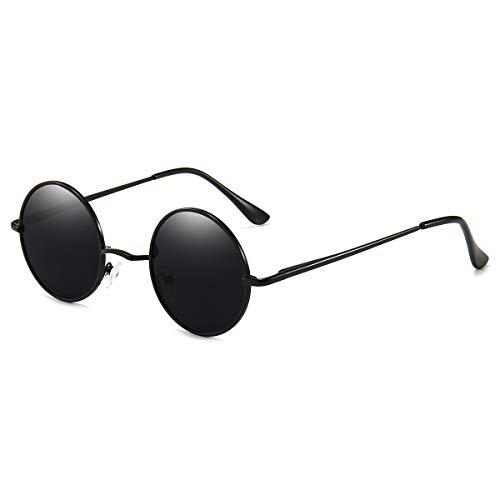 Dollger Vintage Round Sunglasses John Lennon Style Circle Hippie Polarized Sunglasses for Men Women Black