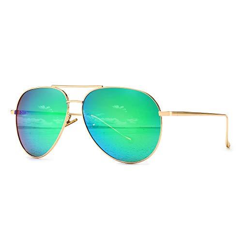 SUNGAIT Polarizadas Gafas de sol Hombre Mujer Aviador UV 400 Unisex Ligero-Oro/Verde 1603