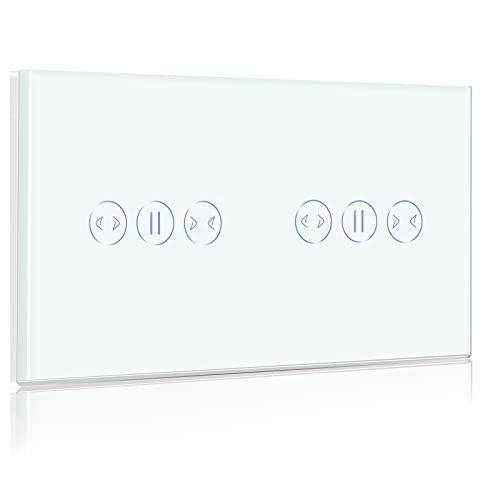 BSEED Doble Interruptor Persiana WIFI,Interruptor Inteligente Compatible con Alexa y Google Home,Control de APP y Función de Temporizador,2,4Ghz Alexa Doble Interruptor de cortina Blanco 157mm