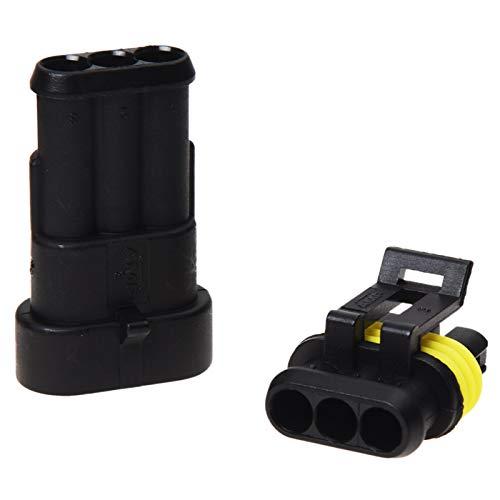 LJQSS Durable Top Calidad 10 Kit 3 Pin Way Impermeable Conector de Conector Eléctrico Enchufe Boton Interruptor