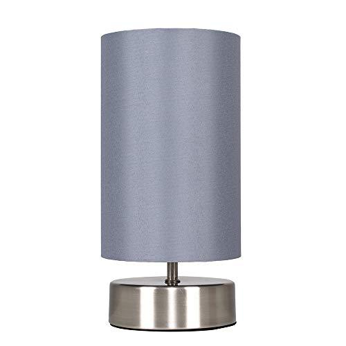 MiniSun - Moderna Lámpara de Mesa Táctil  Regulable - Diseño Cilíndrico con Base Cromada y Pantalla de Tela Gris - Lámpara de mesita de noche