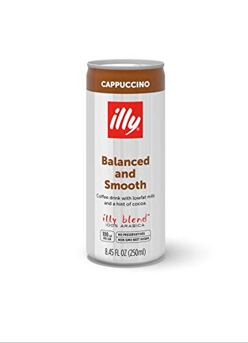 illy Ready-to-Drink Cappuccino, Authentic Italian Coffee, Made with 100% Arabica Coffee, All-Natural, No Preservatives, Hormone-Free Milk, Beet Sugar & Cocoa, 8.5 fl oz (Pack of 12)