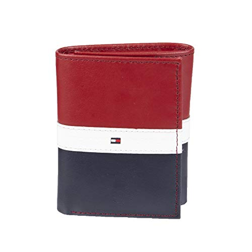 Tommy Hilfiger Men's Trifold Wallet-Sleek and Slim Includes ID Window and Credit Card Holder, Red/White/Blue, One Size