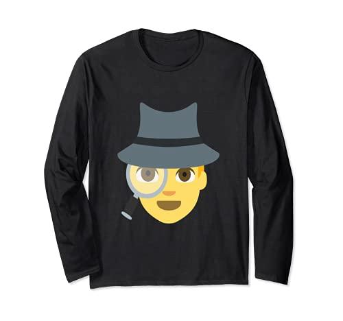 Emoji Spy Sleuth süße Detektivinspektor Lupe Langarmshirt
