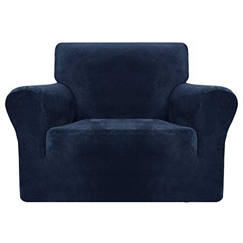 MAXIJIN Thick Velvet Chair Covers for Armchairs Super Stretch Non Slip Sofa Cover 1 Seater Dogs Cat Pet Living Room 1-Piece Elastic Couch Protector Chair Slipcover with Arms (1 Seater, Navy Blue)