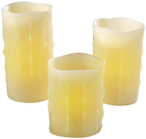 Britesta Echtwachskerze Timer: 3er-Set LED-Echtwachs-Kerzen, Timer & Fernbedienung bis 3 m Reichweite (LED Wachskerzen mit Timer)