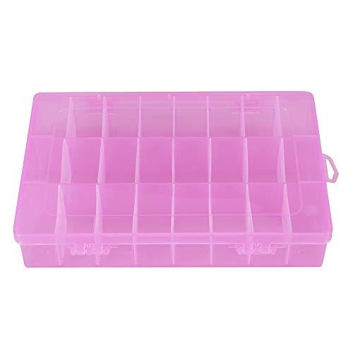 24 raster opbergdoos 24 raster plastic sieraden verstelbare doos afneembare organizer parel oorbellen opbergkoffer voor zakelijke sieraden, schroeven, moeren, enz. (Roze)