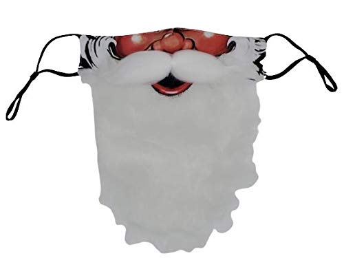 Santa Claus Mask, Ugly Christmas Party, Funny Holiday Beard, SantaCon, Men, Women, Adult Red, White