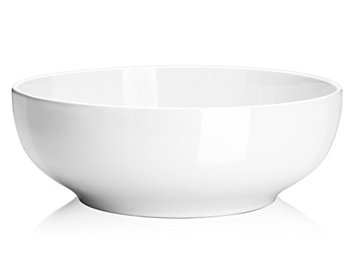 DOWAN 2 Packs Large Serving Bowls, 2.8 Quart Salad Bowls, Big Porcelain Pasta Bowl Set, Sturdy Ceramic Mixing Bowls, Microwave & Dishwasher Safe, Deep Soup Bowls for Family, Party, 9.5 Inch, White