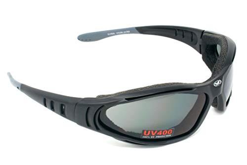 Global Vision Motorrad-Sonnenbrille mit Schaumstoffpolsterung und bruchsicheren Antibeschlag-Gläsern mit gratis Mikrofaser-Aufbewahrungstasche.